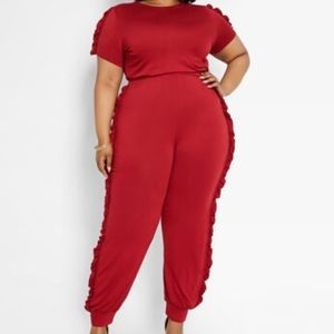 Ashley Stewart ruffled jogger jumpsuit